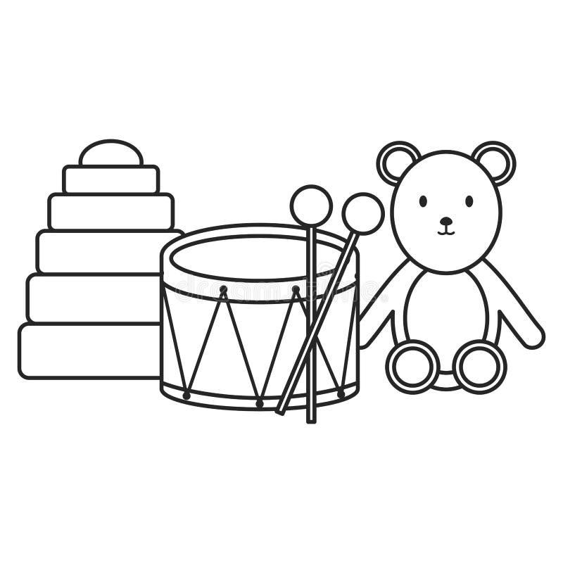 Musical del tamburo con i giocattoli dell'orsacchiotto dell'orso illustrazione vettoriale