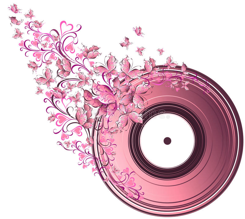 Download Musical Disk With Butterflies Stock Vector - Image: 28821068