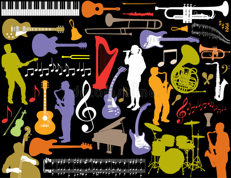 Download Musical Elements Background Stock Vector - Image: 7573241