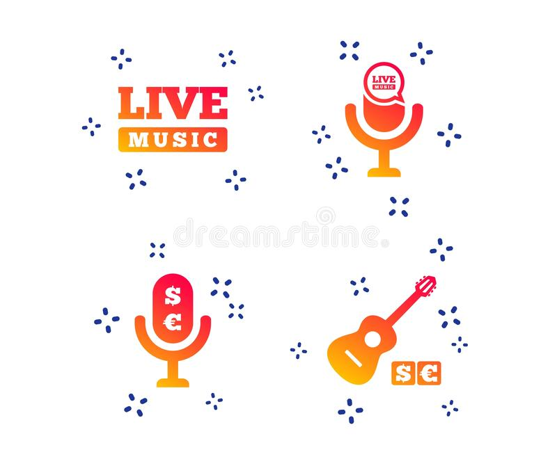 Musical elements icon. Microphone, Live music. Vector royalty free illustration