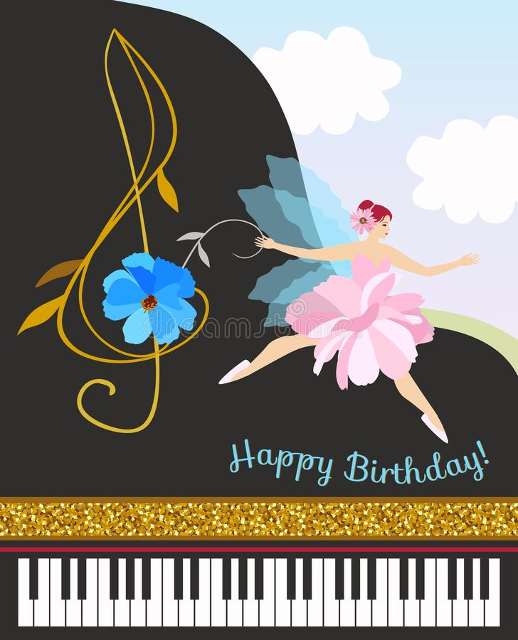 Musical fairy girl in pink tutu with treble clef in shape of cosmos flower and black concert grand piano. Happy birthday card. Musical fairy girl in pink tutu stock illustration