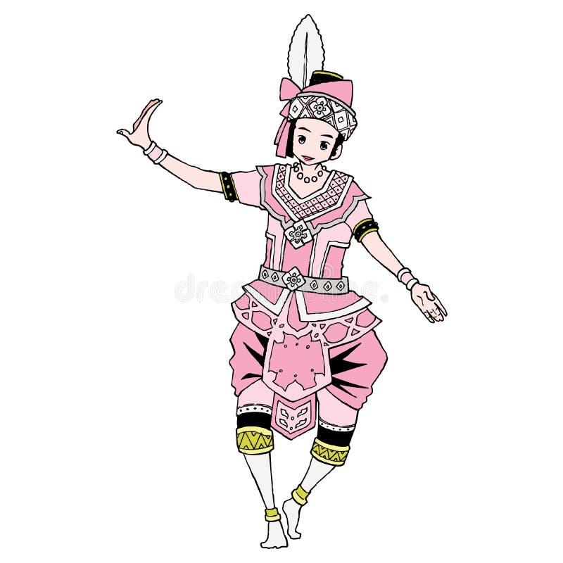 Musical folk drama. Thailand musical folk drama theater stock illustration