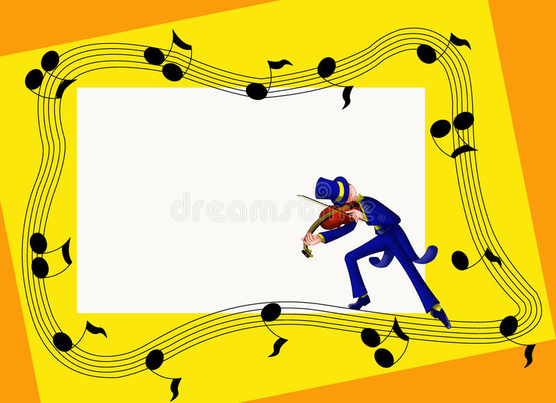 Musical frame with violinist stock photo