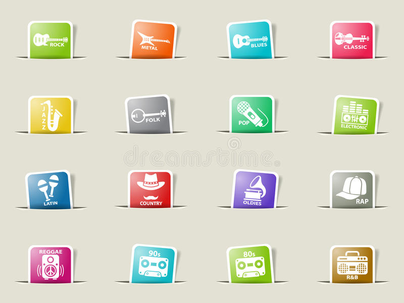 Musical genre web icons. On color paper bookmarks royalty free illustration
