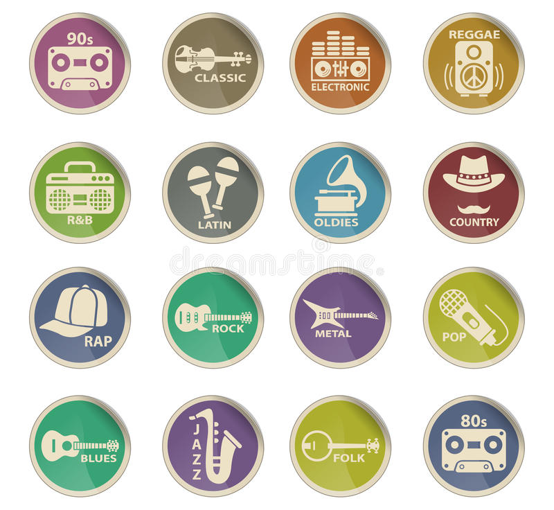 Musical genre web icons. On color paper labels vector illustration