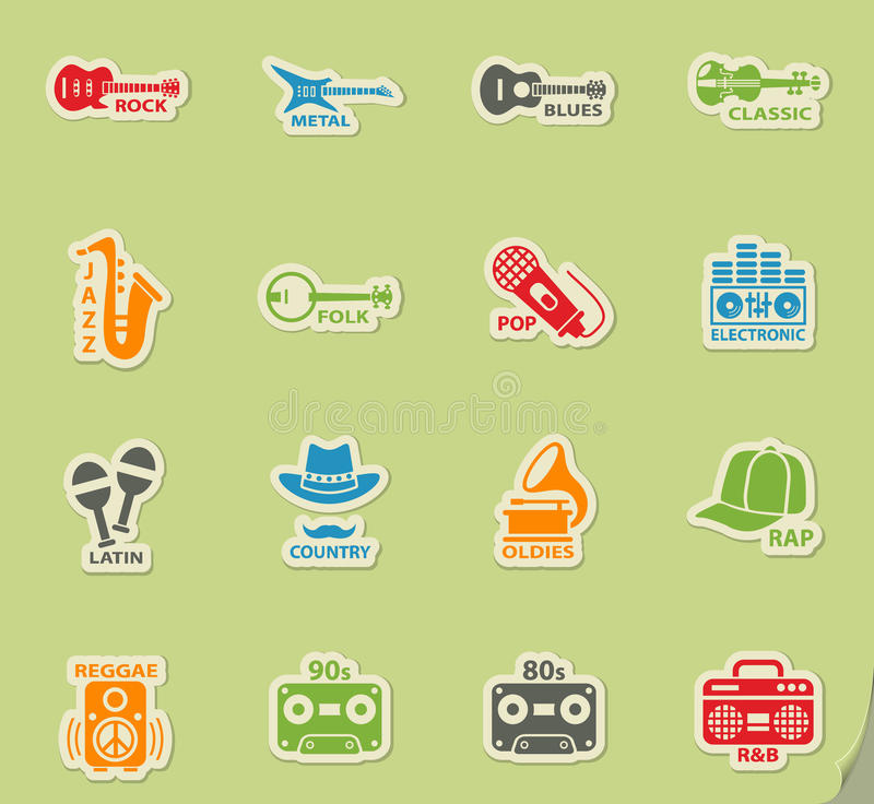 Musical genre web icons. On color paper stickers for user interface vector illustration