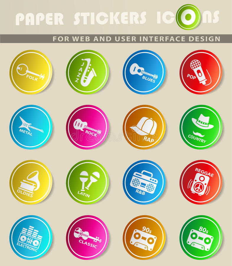 Musical genre web icons. Musical genre icons on color paper stickers for your design vector illustration