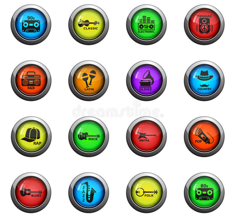 Musical genre web icons. Musical genre icons on color round glass buttons for your design royalty free illustration