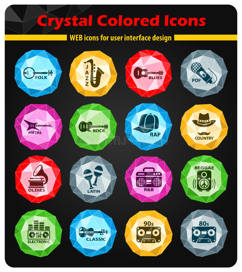 Musical genre web icons. Musical genre crystal color icons for your design stock illustration