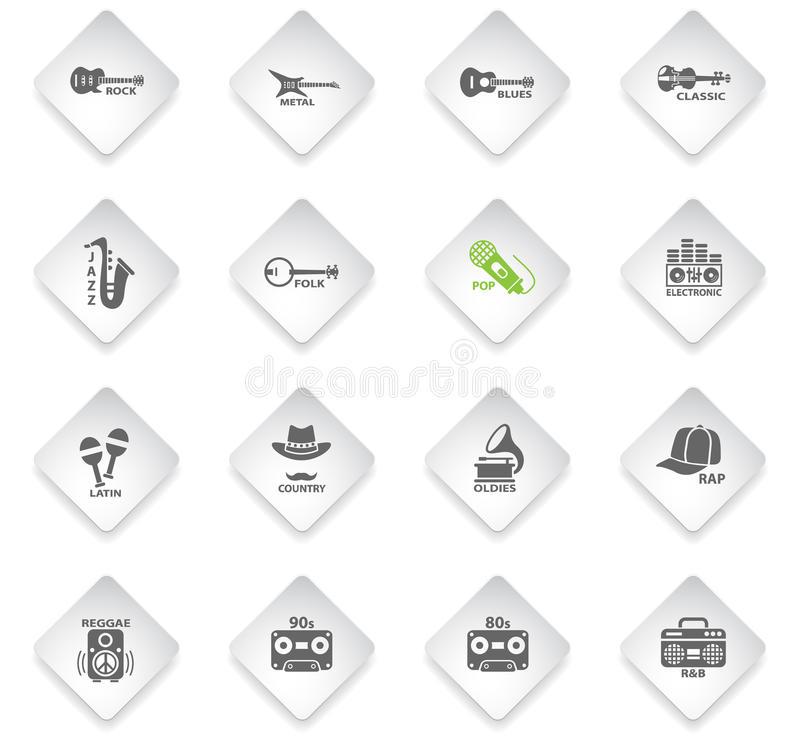 Musical genre web icons. Musical genre flat web icons on color photo cards for user interface royalty free illustration