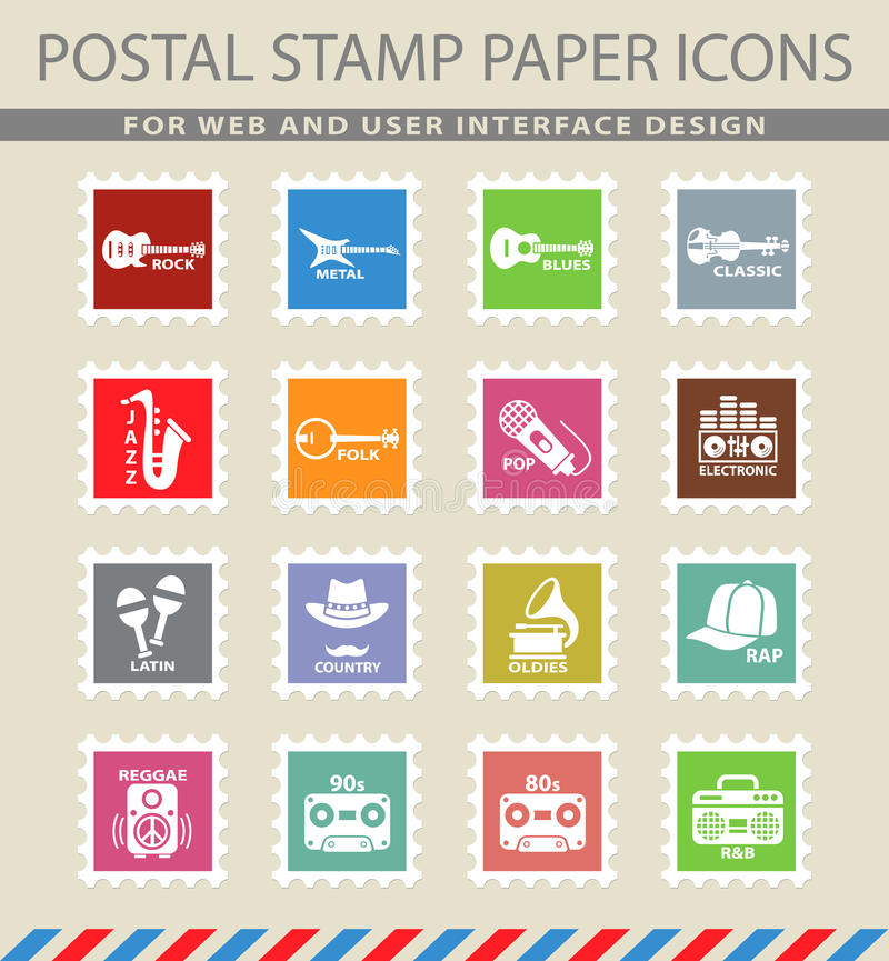 Musical genre web icons. On the postage stamps stock illustration