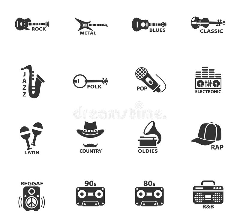 Musical genre web icons. For user interface design vector illustration
