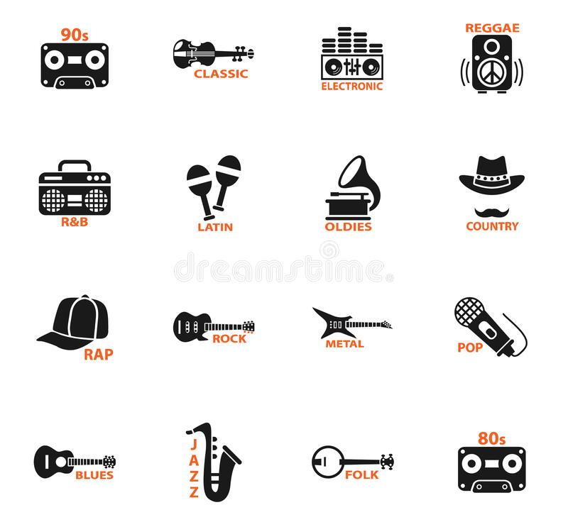Musical genre web icons. For user interface design stock illustration
