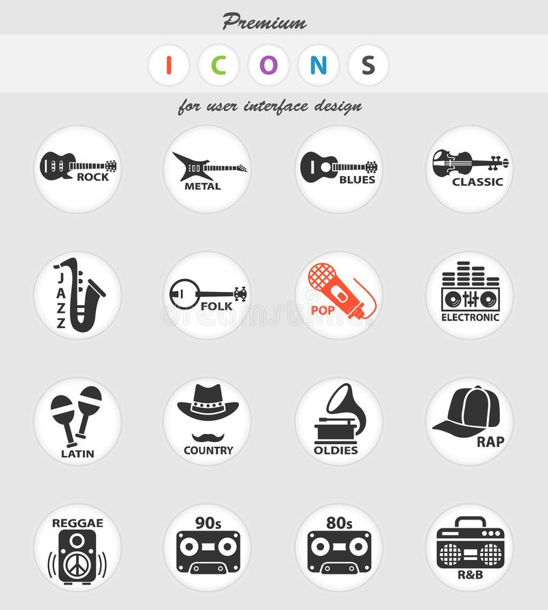 Musical genre web icons. For user interface design royalty free illustration