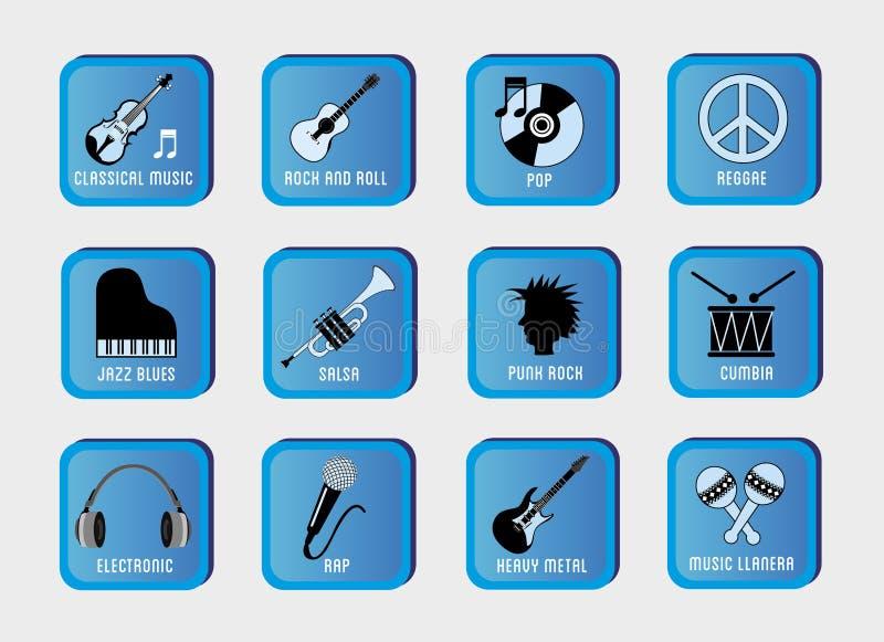 Musical genres royalty free illustration