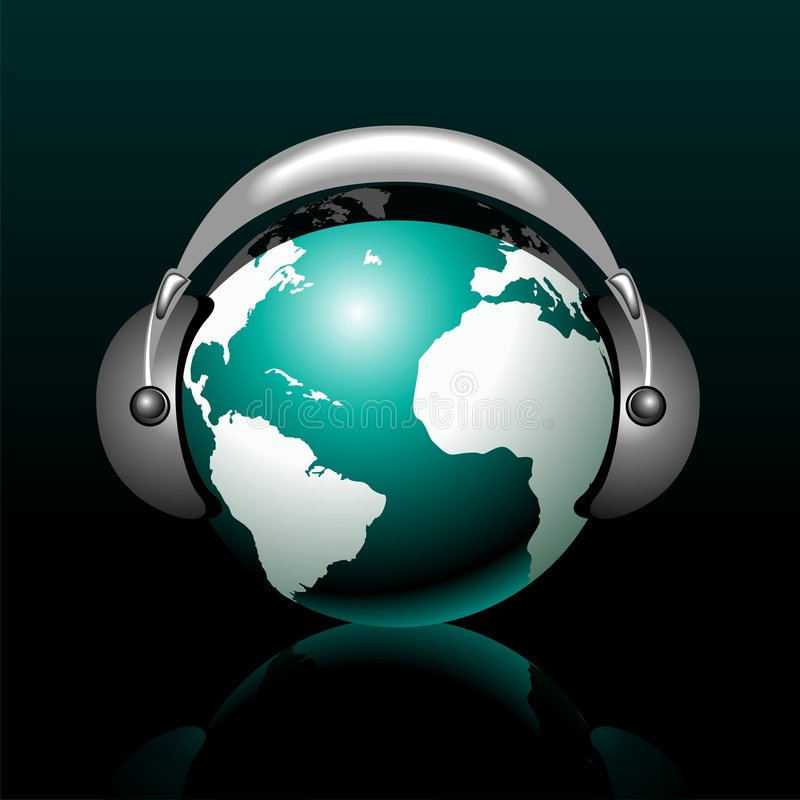 Musical globe with speaker. On dark background stock illustration