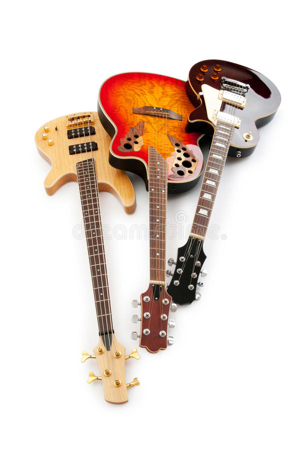 Musical guitar isolated on the white royalty free stock photo