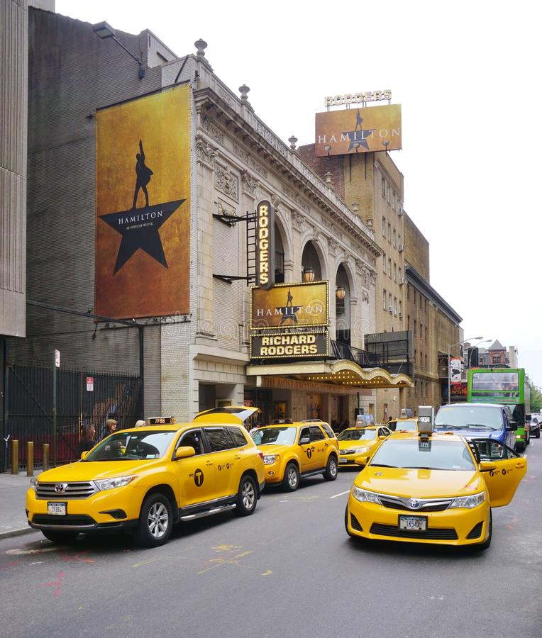 The musical Hamilton at the Rodgers Theater in New York royalty free stock images