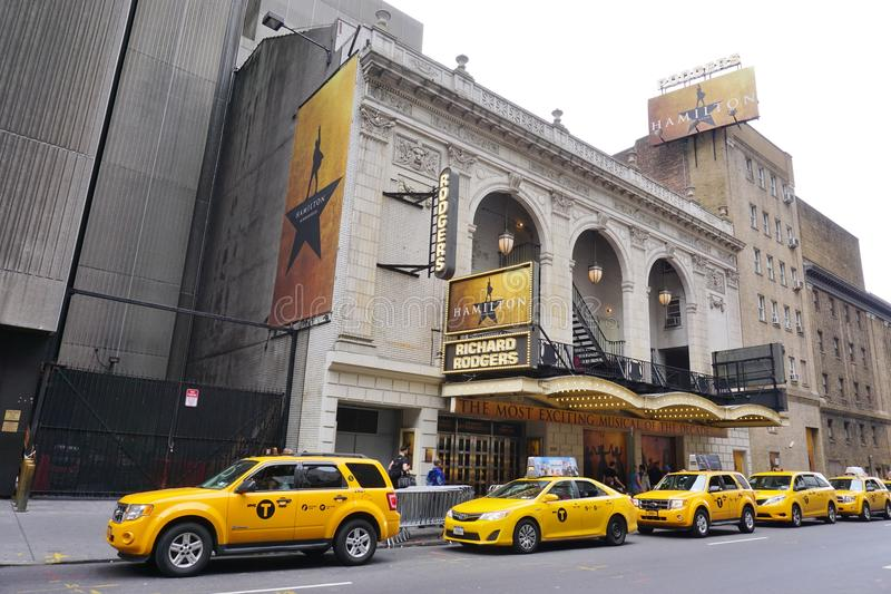The musical Hamilton at the Rodgers Theater in New York royalty free stock photo