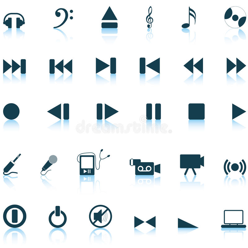 Download Musical icons set stock vector. Image of black, film - 11359472
