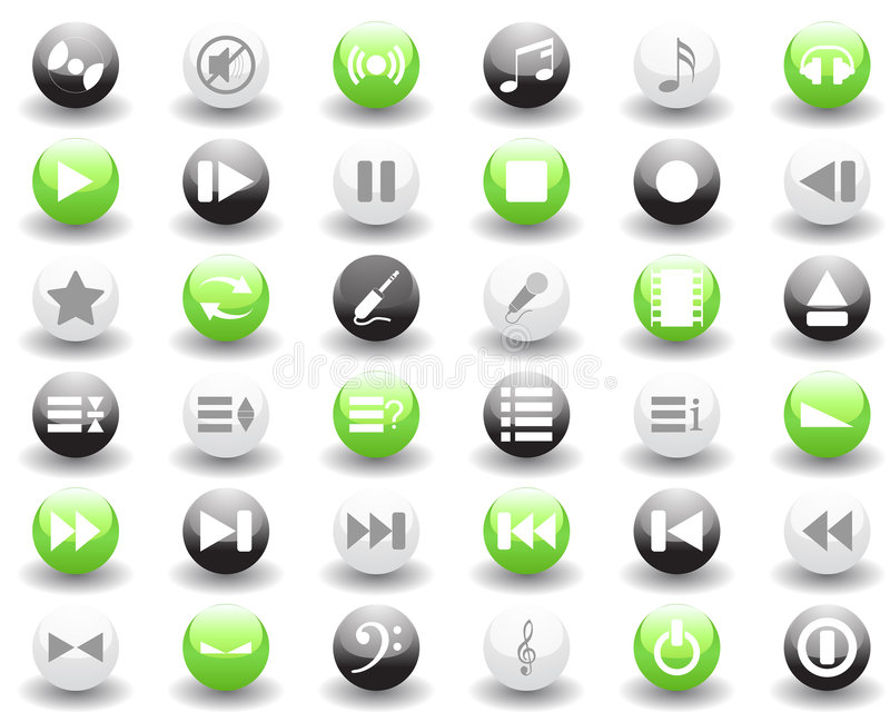 Musical icons set. Vector collection of different music themes icons vector illustration