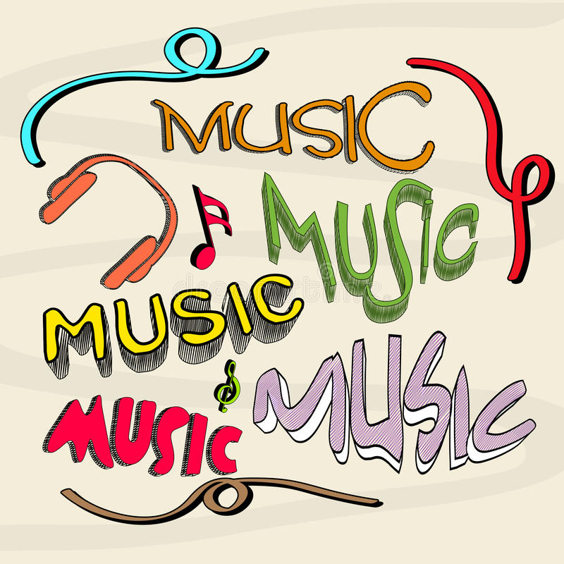 Musical instruemt and notes with stylish text. Stylish retro multicolor text of Music with headphone and musical notes royalty free illustration