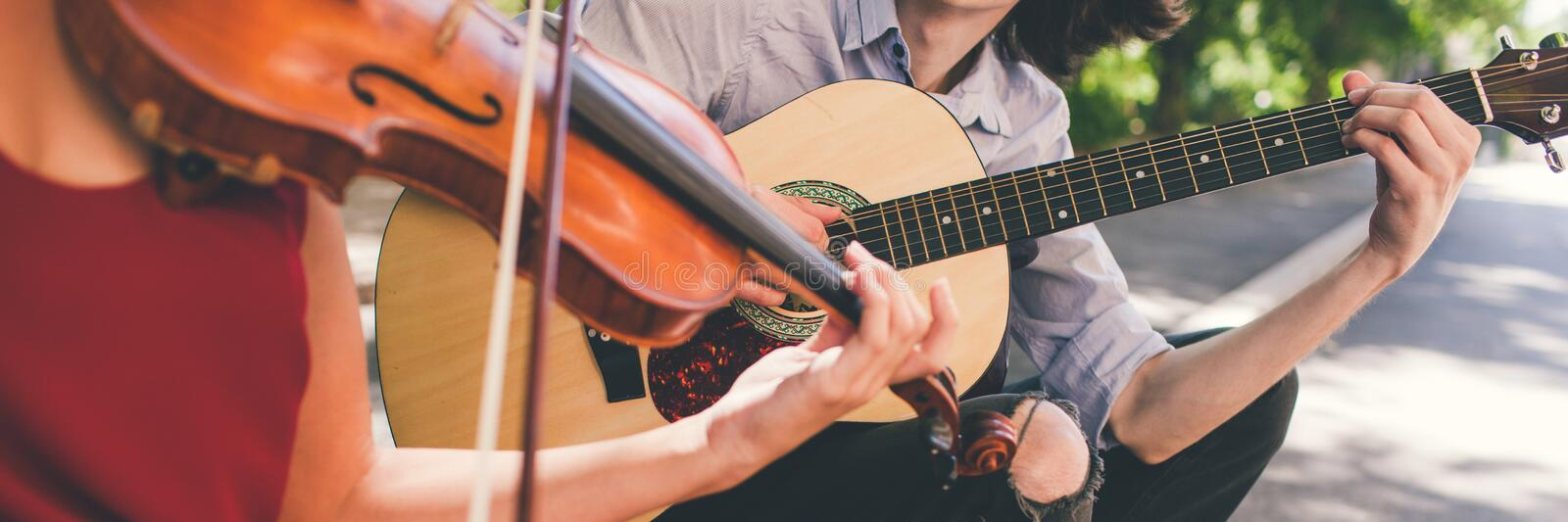 Musical instrument advertisement repair shop. Musical instrument advertising. guitar violin repair shop concept royalty free stock images