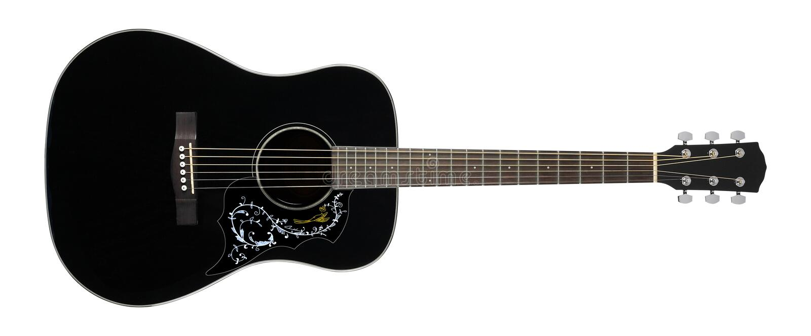 Musical instrument - Black acoustic guitar country flower bird p. Ickguard on a white background royalty free stock photos