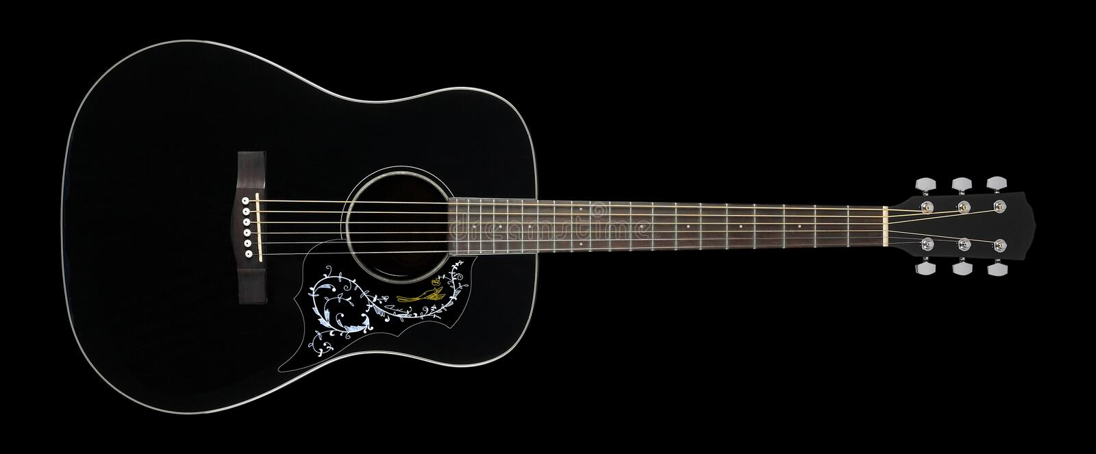 Musical instrument - Black folk acoustic guitar country flower b. Ird pickguard on a black background stock images