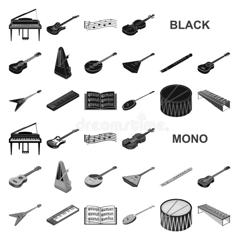 Musical instrument black icons in set collection for design. String and Wind instrument isometric vector symbol stock. Illustration vector illustration