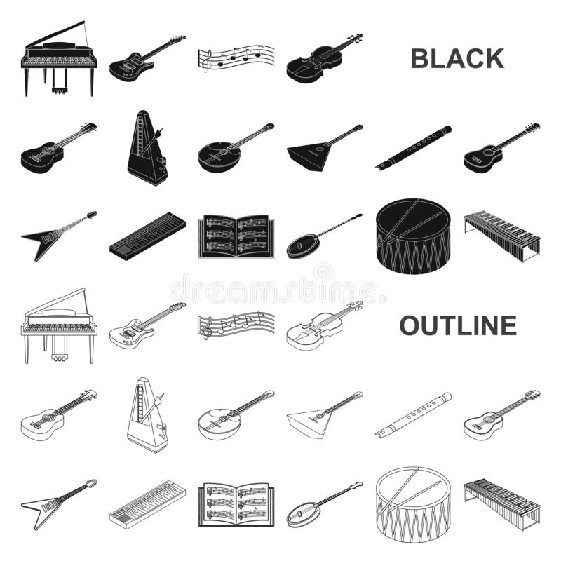 Musical instrument black icons in set collection for design. String and Wind instrument isometric vector symbol stock. Illustration royalty free illustration
