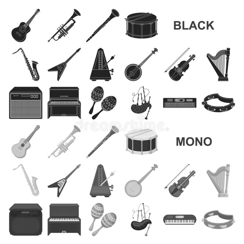 Musical instrument black icons in set collection for design. String and Wind instrument vector symbol stock web. Musical instrument black icons in set collection vector illustration