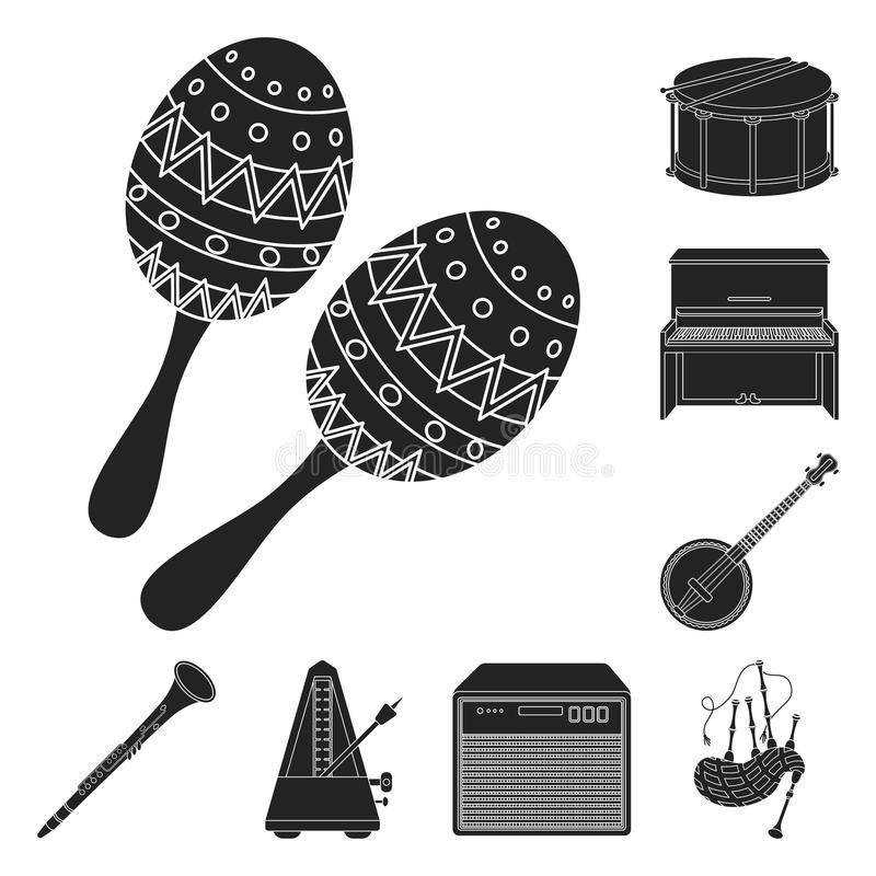 Musical instrument black icons in set collection for design. String and Wind instrument vector symbol stock web. Musical instrument black icons in set collection royalty free illustration