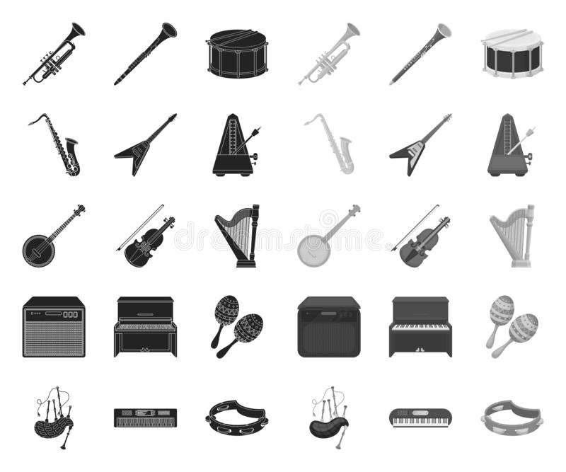 Musical instrument black.mono icons in set collection for design. String and Wind instrument vector symbol stock web. Musical instrument black.mono icons in set stock illustration