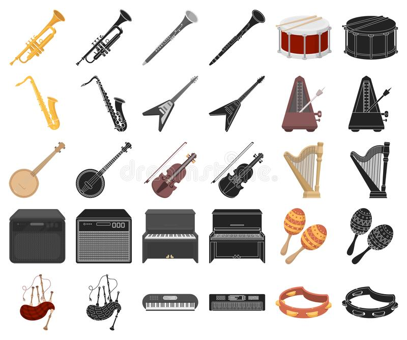 Musical instrument cartoon,black icons in set collection for design. String and Wind instrument vector symbol stock web stock illustration