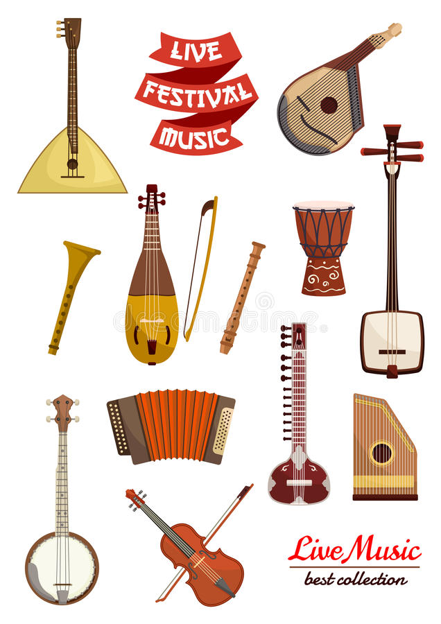 Musical instrument cartoon icon set. Violin, drum, lute, balalaika, flute, mandolin, banjo and sitar, accordion and rebec, psaltery and ribbon banner with text royalty free illustration