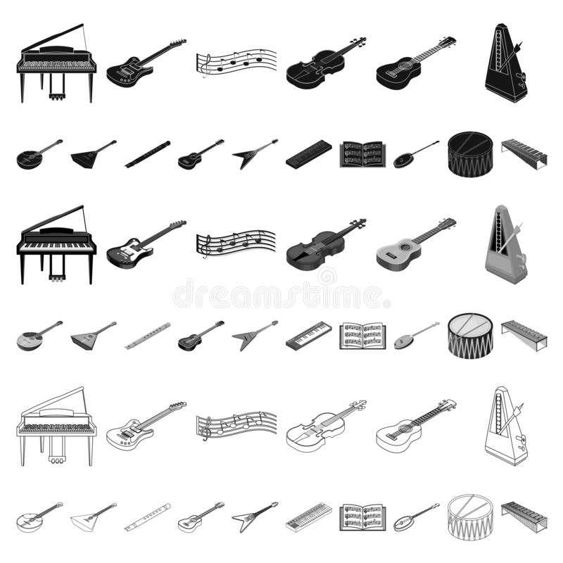 Musical instrument cartoon icons in set collection for design. String and Wind instrument isometric vector symbol stock. Illustration royalty free illustration