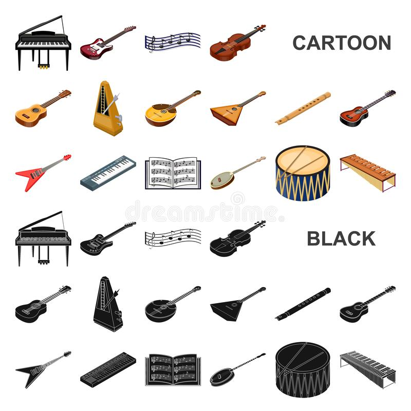 Musical instrument cartoon icons in set collection for design. String and Wind instrument isometric vector symbol stock. Illustration stock illustration
