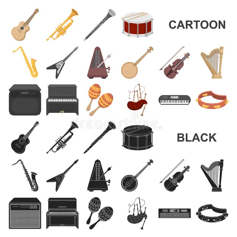 Musical instrument cartoon icons in set collection for design. String and Wind instrument vector symbol stock web. Musical instrument cartoon icons in set vector illustration