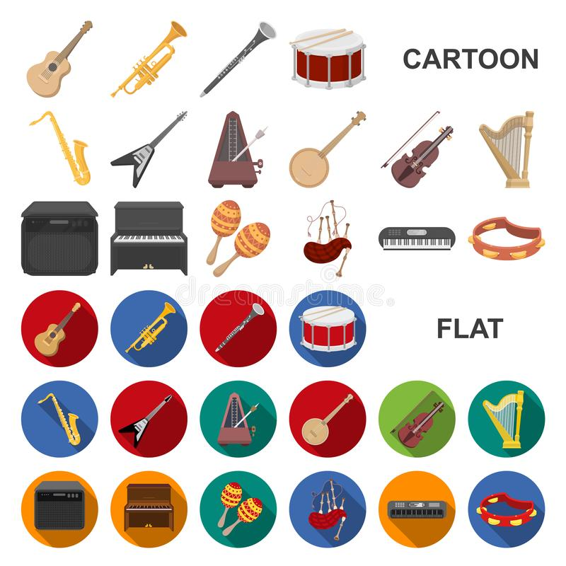 Musical instrument cartoon icons in set collection for design. String and Wind instrument vector symbol stock web. Musical instrument cartoon icons in set royalty free illustration