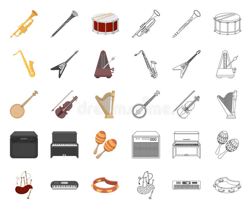 Musical instrument cartoon,outline icons in set collection for design. String and Wind instrument vector symbol stock. Illustration stock illustration