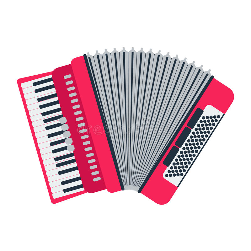 Musical instrument classical accordion, on white background. Accordion isolated vector. Musical instrument classical accordion, on white background. Accordion royalty free illustration
