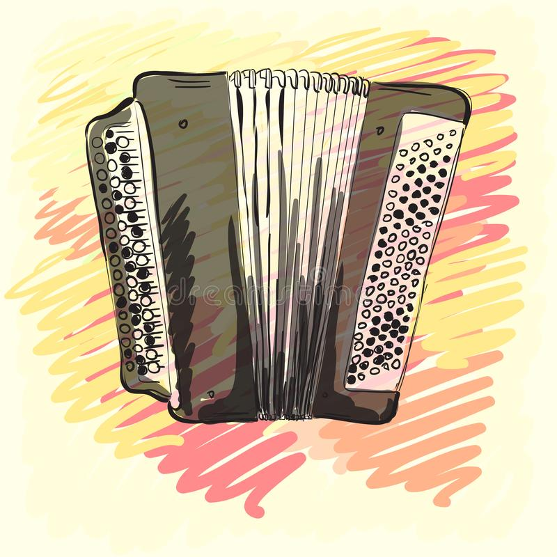 Musical instrument. Classical bayan, accordion. Corporate identity sketch. Musical instrument. Classical bayan accordion. Corporate identity sketch vector illustration