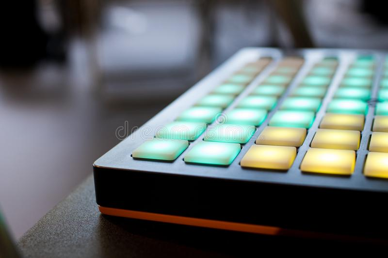 Musical Instrument For Electronic Music With A Matrix Of 64 Keys Stock Image - Image of address