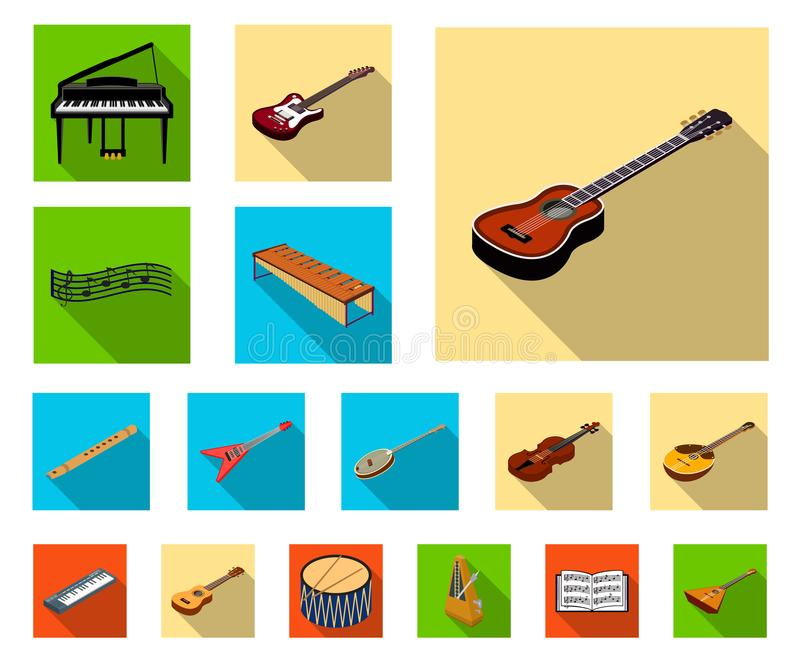 Musical instrument flat icons in set collection for design. String and Wind instrument isometric vector symbol stock web. Musical instrument flat icons in set royalty free illustration