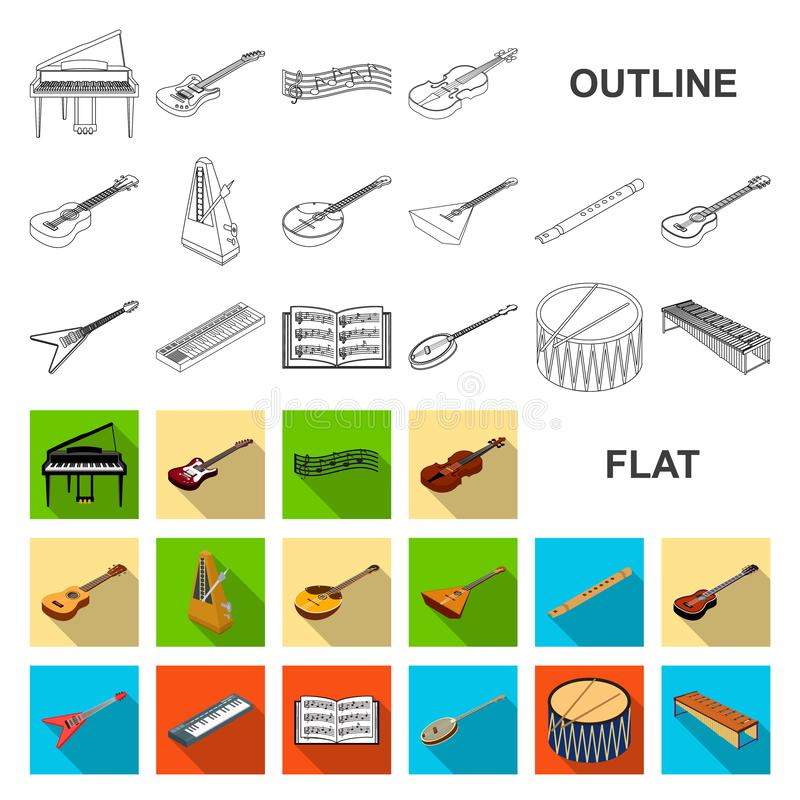 Musical instrument flat icons in set collection for design. String and Wind instrument isometric vector symbol stock web. Musical instrument flat icons in set vector illustration