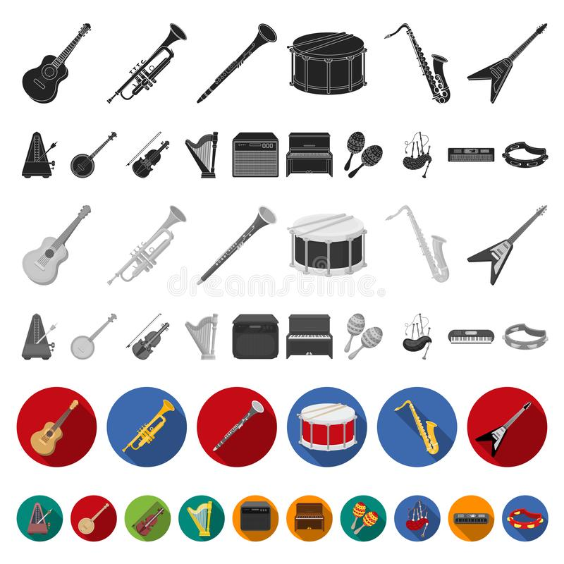 Musical instrument flat icons in set collection for design. String and Wind instrument vector symbol stock web. Musical instrument flat icons in set collection royalty free illustration