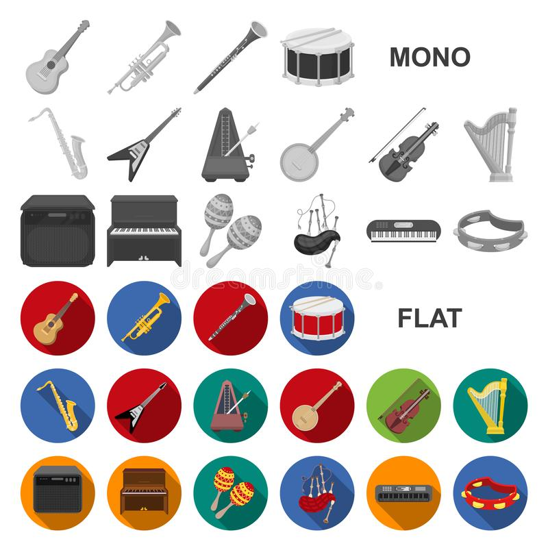 Musical instrument flat icons in set collection for design. String and Wind instrument vector symbol stock web. Musical instrument flat icons in set collection stock illustration