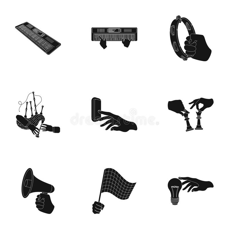 Musical instrument, garbage and ecology, electric applianc and other web icon in black style. Megaphone, finishing. Musical instrument, garbage and ecology stock illustration