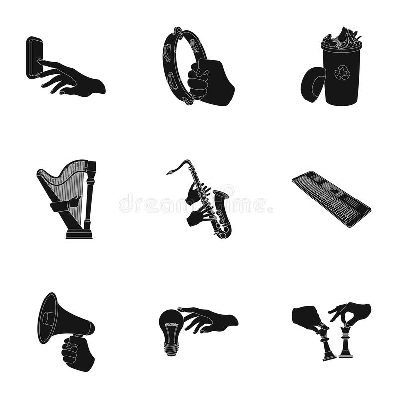 Musical instrument, garbage and ecology, electric applianc and other web icon in black style. Megaphone, finishing. Musical instrument, garbage and ecology vector illustration